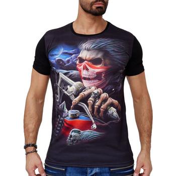 Vêtements Homme T-shirts manches courtes Monsieurmode T-shirt homme tete de mort T-shirt 1605 noir Noir