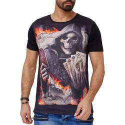 Vêtements Homme T-shirts manches courtes Monsieurmode T-shirt fashion tête de mort T-shirt 1592 noir Noir