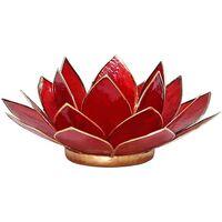 Maison & Déco Bougeoirs, photophores Zen Et Ethnique Porte Bougie Fleur de Lotus rouge et or 1er chakra Rouge