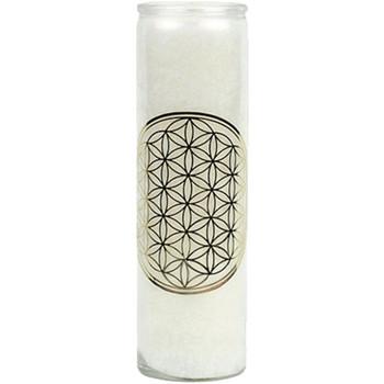 Maison & Déco Bougies, diffuseurs Zen Et Ethnique Bougie en stearine 100 heures - Fleur de la Vie Blanc