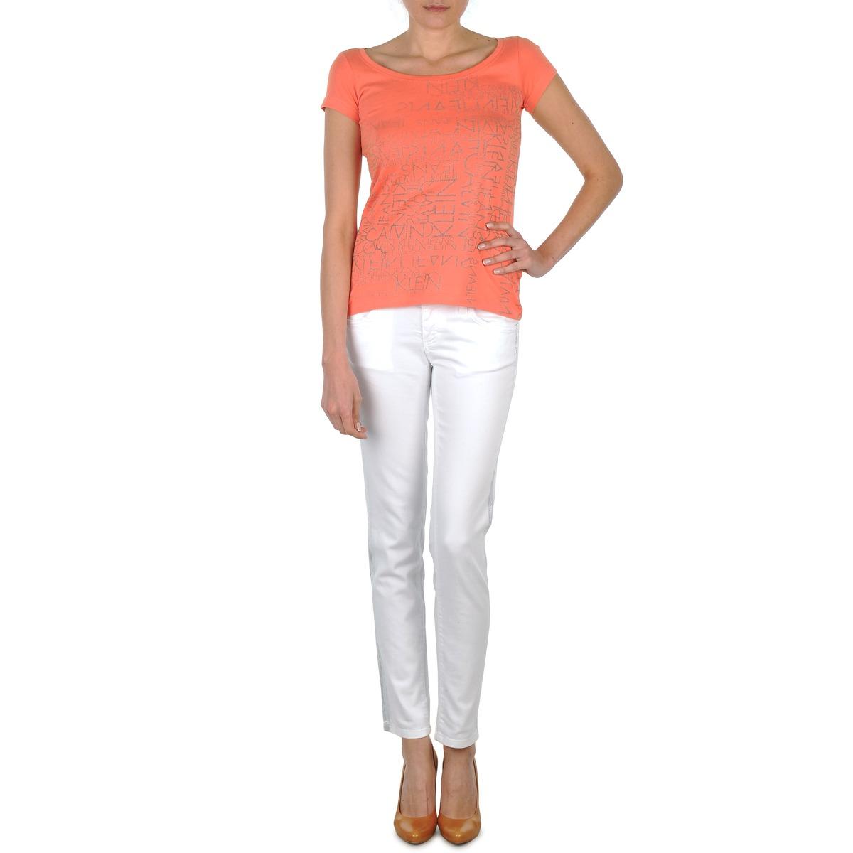 Calvin Klein Jeans JEAN BLANC BORDURE ARGENTEE Blanc