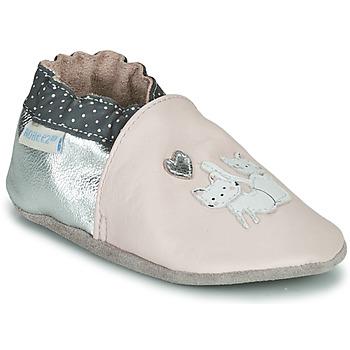 Chaussures Fille Chaussons bébés Robeez CAT FRIENDS Rose / Argenté