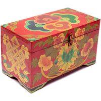 Maison & Déco Malles, coffres de rangements Zen Et Ethnique Coffre tibétain Spirale peint à la main Rouge
