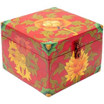 Maison & Déco Malles, coffres de rangements Zen Et Ethnique Coffret Tibétain fleur peint à la main Rouge