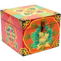 Maison & Déco Malles, coffres de rangements Zen Et Ethnique Coffret tibétain Rouge Lotus peint à la main Rouge
