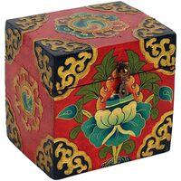 Maison & Déco Malles, coffres de rangements Zen Et Ethnique Coffret tibétain Rouge peint à la main Rouge