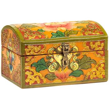 Maison & Déco Malles, coffres de rangements Zen Et Ethnique Petit Coffret tibétain lotus Orange