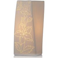 Maison & Déco Lampes à poser Zen Et Ethnique Lampe à poser blanche Ellipse fleurie Blanc