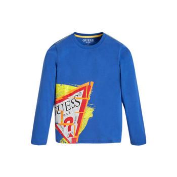 Vêtements Garçon T-shirts manches longues Guess LISTIN Bleu