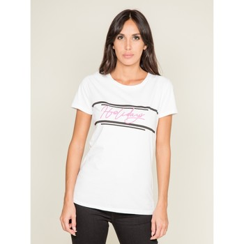 Vêtements Femme T-shirts manches courtes Dona X Lisa T-shirt col rond message FOLIDAY Blanc