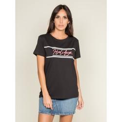 Vêtements Femme T-shirts manches courtes Dona X Lisa T-shirt col rond message FOLIDAY Noir