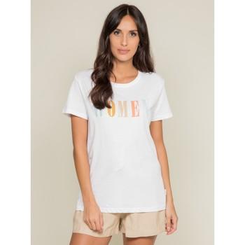 Vêtements Femme T-shirts manches courtes Dona X Lisa T-shirt col rond message FRECHOU Blanc
