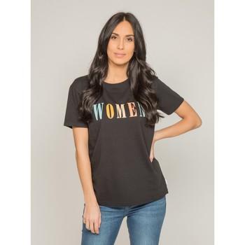 Vêtements Femme T-shirts manches courtes Dona X Lisa T-shirt col rond message FRECHOU Noir
