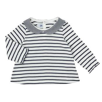 Vêtements Fille T-shirts manches longues Petit Bateau HOLINU Blanc / Bleu