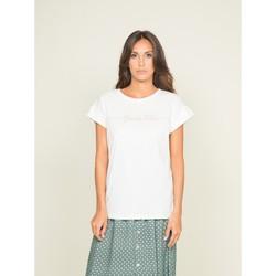 Vêtements T-shirts manches courtes Dona X Lisa T-shirt col rond message FIBES Blanc