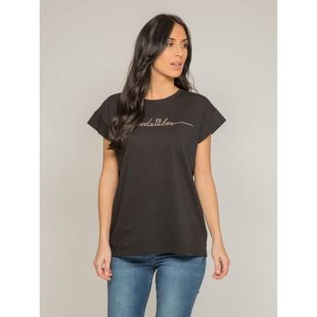 Vêtements Femme T-shirts manches courtes Dona X Lisa T-shirt col rond message FIBES Noir