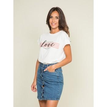 Vêtements Femme T-shirts manches courtes Dona X Lisa T-shirt col rond message FODY Blanc