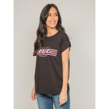 Vêtements Femme T-shirts manches courtes Dona X Lisa T-shirt col rond message FODY Noir