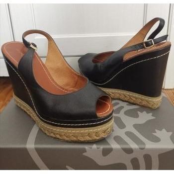 Chaussures Femme Sandales et Nu-pieds Cosmo Paris Sandales noires compensées en cuir - P40 - CosmoParis Noir