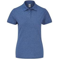 Vêtements Femme Polos manches courtes Fruit Of The Loom SS86 Bleu roi chiné