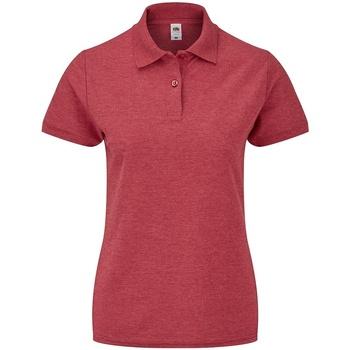 Vêtements Femme Polos manches courtes Fruit Of The Loom SS86 Rouge chiné