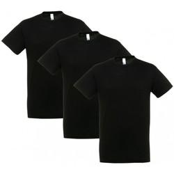 Vêtements T-shirts manches courtes Sols PACK 3 CAMISETAS NEGRAS COTTON Negro