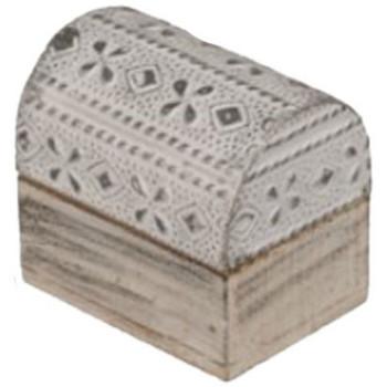 Maison & Déco Paniers, boites et corbeilles Retro Mini Boîte Frise de fleurs argentée en bois blanc et argent Blanc