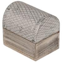 Maison & Déco Paniers, boites et corbeilles Retro Mini Boîte rayée en bois blanc et argent Blanc