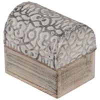 Maison & Déco Paniers, boites et corbeilles Retro Boîte arabesque argenté en bois blanc et argent Blanc