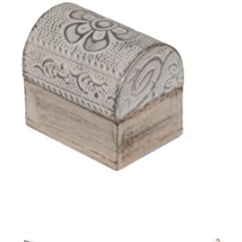Maison & Déco Paniers, boites et corbeilles Retro Mini Boîte fleur argentée en bois blanc et argent Blanc