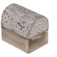 Maison & Déco Paniers, boites et corbeilles Retro Mini Boîte fleurie argentée en bois blanc et argent Blanc