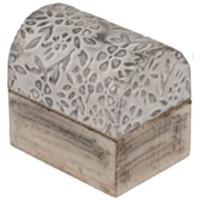Maison & Déco Paniers, boites et corbeilles Retro Mini Boîte fleurs argentées en bois blanc et argent Blanc