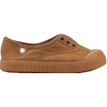 Chaussures Fille Tennis IGOR Baskets uni BERRI MC Marron
