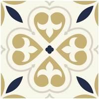 Maison & Déco Stickers Retro 6 stickers carreaux de ciment Beige Or et Bleu 15 x 15 cm Beige