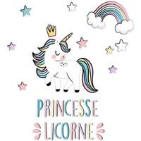 Maison & Déco Enfant Stickers Le Monde Des Animaux Stickers muraux Princesse Licorne Multicolore