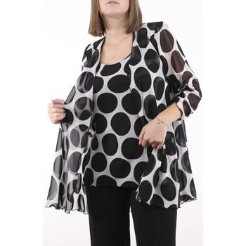 Vêtements Femme Vestes Georgedé Twinset Ornella en mousseline Imprimé Noir à Gros Pois Multicolore