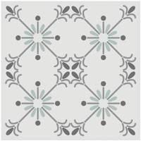 Maison & Déco Stickers Retro 6 stickers à carreaux de ciment Blanc - Gris et Bleu 15 x 15 cm Blanc