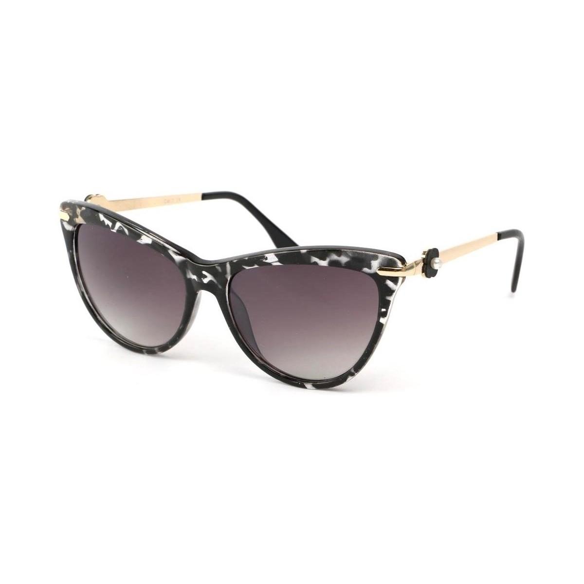 Eye Wear Lunettes Soleil Wave avec monture marbrée dorée Noir