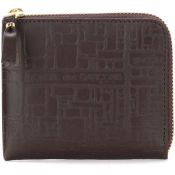 Sacs Portefeuilles Comme Des Garcons Porte-monnaie Wallet Comme Des Garçons en cuir imprimé Brun