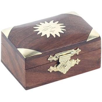 Maison & Déco Paniers, boites et corbeilles Zen Et Ethnique Boite en bois motif soleil en laiton Marron