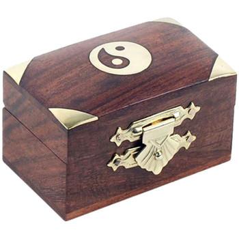 Maison & Déco Paniers, boites et corbeilles Zen Et Ethnique Boite en bois motif Yin et Yang en laiton Marron