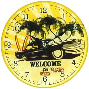 Maison & Déco Horloges Retro Petite Horloge Miami Jaune