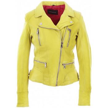 Vêtements Femme Vestes en cuir / synthétiques Oakwood Blouson style perfecto  en cuir ref 35282 Jaune Jaune