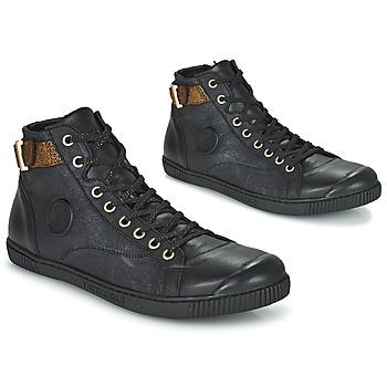 Chaussures Femme Baskets montantes Pataugas LATSA Noir / Doré