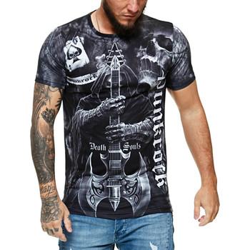 Vêtements Homme T-shirts manches courtes Monsieurmode T-shirt fashion death soul T-shirt 1483 noir Noir