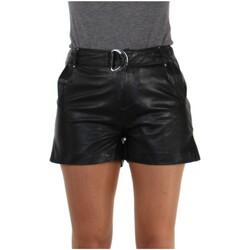 Vêtements Femme Pantalons Daytona Short Rose Garden en cuir ref_46928 Noir Rose