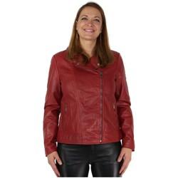 Vêtements Femme Vestes en cuir / synthétiques Daytona Blouson Rose Garden style perfecto en cuir ref_47721 Rouge Rose