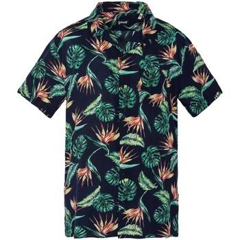 Vêtements Homme Chemises manches longues Schott Chemise manches courtes  ref 52973 Navy Exotic Bleu