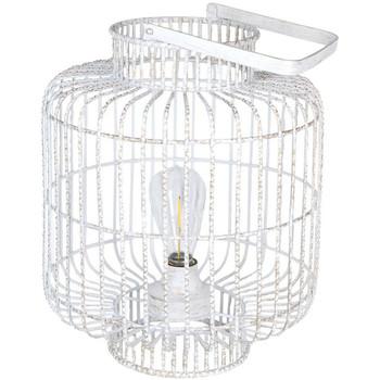 Maison & Déco Lampes à poser Retro Lampe Blanche en métal patiné Or transportable LED Blanc