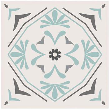 Maison & Déco Stickers Retro 6 stickers carreaux de ciment Gris et Vert 15 x 15 cm Gris